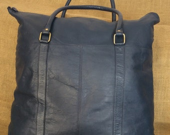 Large vintage genuine blue leather shopping tote bag carry all