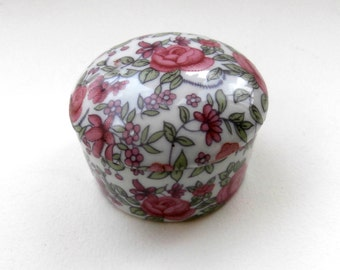 Ceramic Box - Trinket Box - Vintage - Rose Print - Miniature