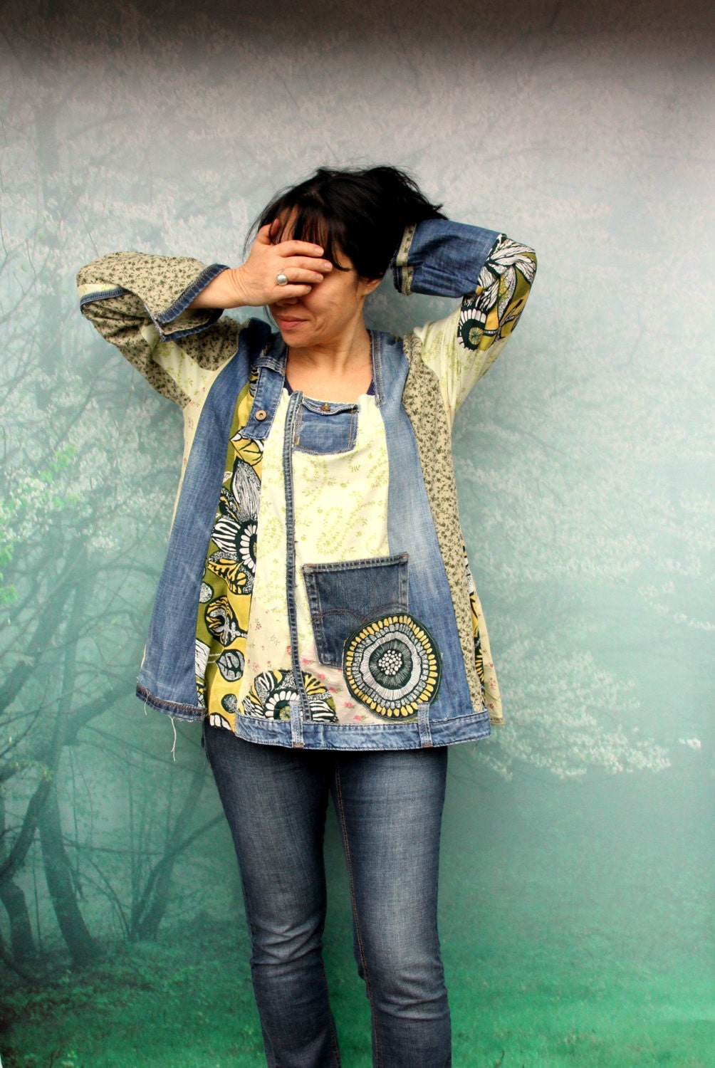 Reserved for Bonnie blue and green denim recycled dress tunic