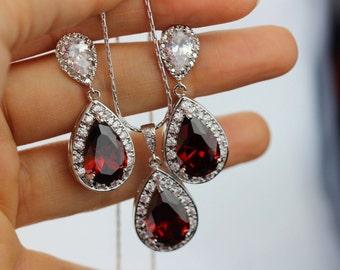 post garnet necklace earring and bracelet set
