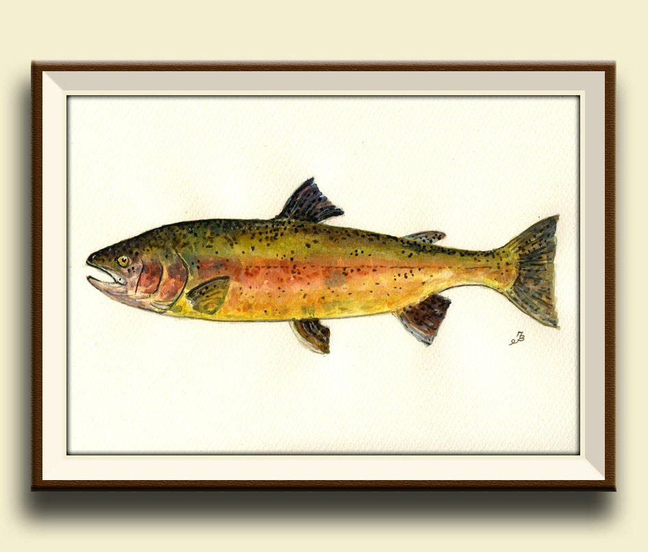 Print trout art wall rainbow trout fish fly fishing game for Fly fishing games
