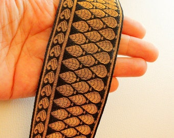 Black And Copper Thread Leaf Embroidery One Yard Lace Trim 50mm Wide - 030315L54