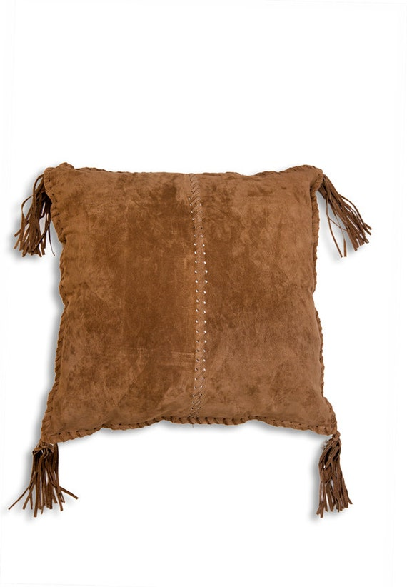 Leather pillow southwestern pillow in genuine brown suede
