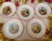 5 French Wine Dessert Plates Moulin des Loups Orchies Porcelain Plates Champagne Vin d'Alsace Bourgogne Bordeaux Cotes de Loire