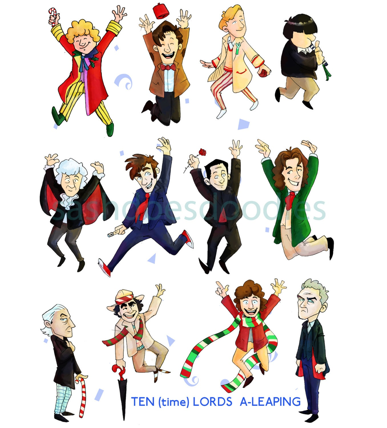 Ten time Lords a leaping Doctor Who Print Your Own