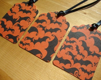 Halloween Tags - Set of 10 - Gift Tags - Treat Tags - Hang Tags - Party Favor Tags - Bat Tags