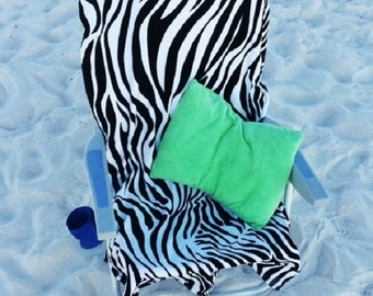 Monogrammed Beach Chair Cover- Your choice of Color or Print