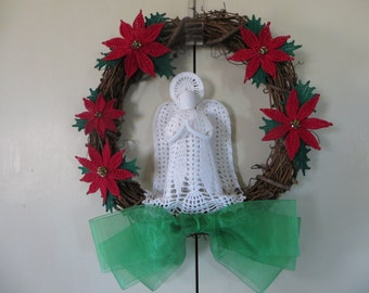 Poinsettia Angel Wreath