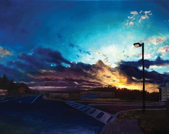 """Highway 26, Oil on 24x18"""" canvas, by Sean Bodley Original Oil Landscape Painting - State College Art Sunset Painting - Pennsylvania Painting"""