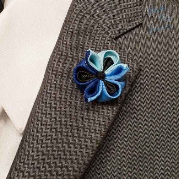 Stylish Beautiful Black Flower Lapel Pin: Blue Colorful Kanzashi Flower Lapel Pin With Black Crystal
