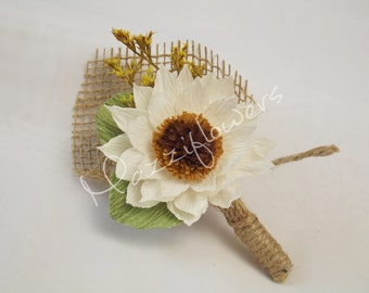 Wedding Boutonniere,bridal boutonniere, paper flower,corsage,bridal paper flower,buttonhole, the flower of  sunflower,ivory sunflower.