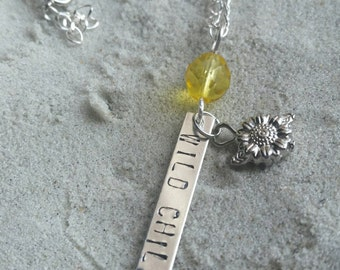 """Wild Child - With a Whole Lot of Gypsy 26"""" Silver Plated Stamp Necklace"""