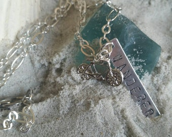 "The Local Wanderer- 18"" Silver Plated Charmed Necklace with a Bike and Hand-stamped ""Wanderer"" Charm"