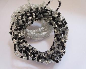 Black Silver Crystal Beaded Garland Glass Bead Garland 11ft Chandelier Decoration Wedding Decoration