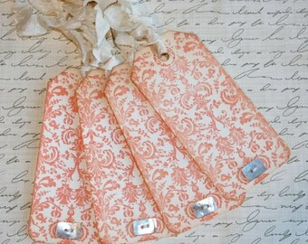 Orange Damask Gift Tags // Set of 4 Gift Tags // Orange gift tags // Shabby Chic Gift Tags