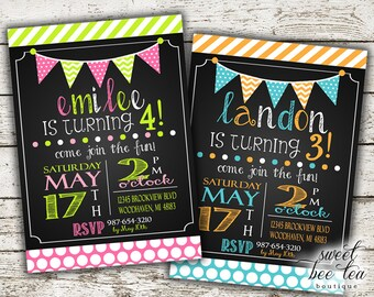 Boy or Girl Birthday Invitation - Any Age - Printable Invite - Chevron Pink Green Blue Orange - Bunting Flags - Chalkboard Stripes Polka Dot