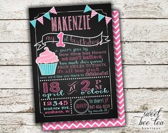 Baby Girls Birthday Invitation - Printable Invite - First 1st Birthday One Girl - Chalkboard - Polka Dot Chevron - Bunting Flags