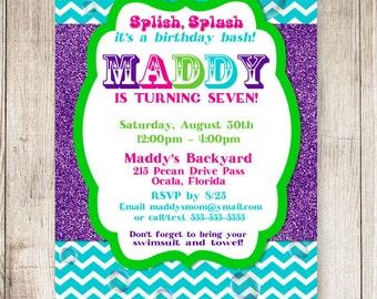 Splish Splash Bash Invitation, Splish Splash Birthday, Pool Party Invitation, #002  5x7 or 4x6 Printable Invitation