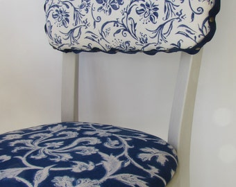 Refurbished Mid Century Modern Wood Chair - Light Grey Painted Wood Chair -  3 Classic Ralph Lauren Indigo Blue and White Fabric Designs -