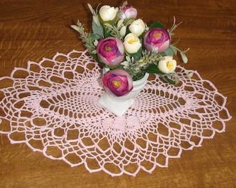 Crocheted doily Handmade doily Small doily Pink doily Lace doily Crochet doily