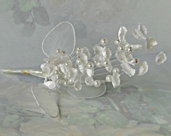 Vintage Millinery, White Satin Floral Spray, Pick, Beaded, Organza, Wedding, Hairpiece, Bridal