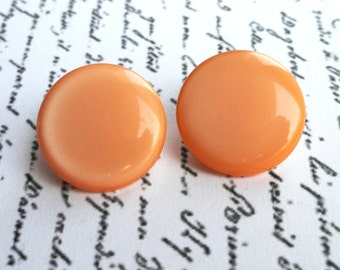 Vintage Earrings, Orange, Clip On, Jewelry, Round, Button, Mod, Retro, VVJE-01