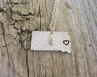 Aluminum South Dakota Necklace With Heart Hand Stamped Over Sioux Falls~Choose Your City~Personalized