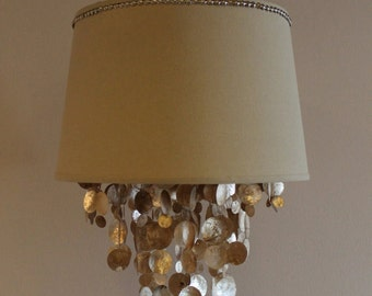 Linen and nailhead chandelier shade with gold capiz shell