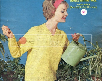 """Lady's V-Neck Sweater DK 32-38"""" Sirdar 1722 Vintage Knitting Pattern PDF instant download"""