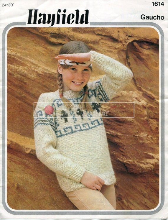Girl's Fairisle Sweater Chunky 24-30ins Hayfield 1614 Knitting Pattern PDF instant download
