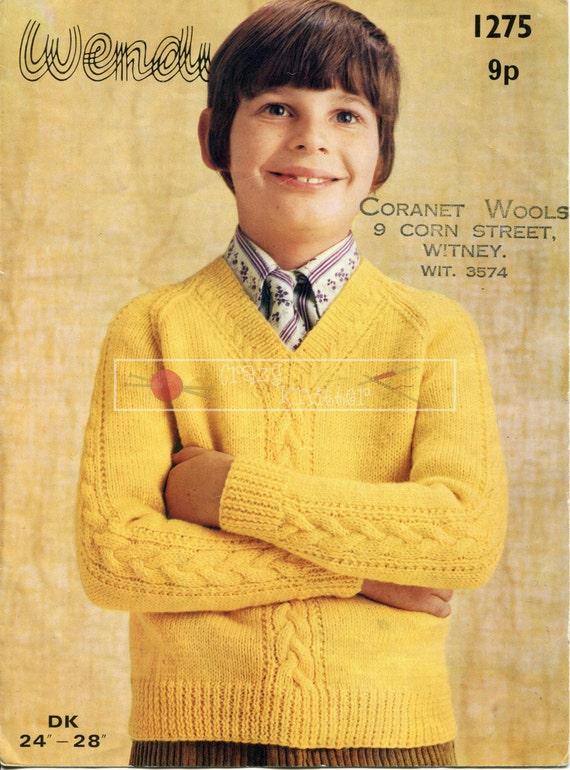 """Boy's V Neck Sweater Cable DK 24-28"""" Wendy 1275 Vinatge Knitting Pattern PDF instant download"""