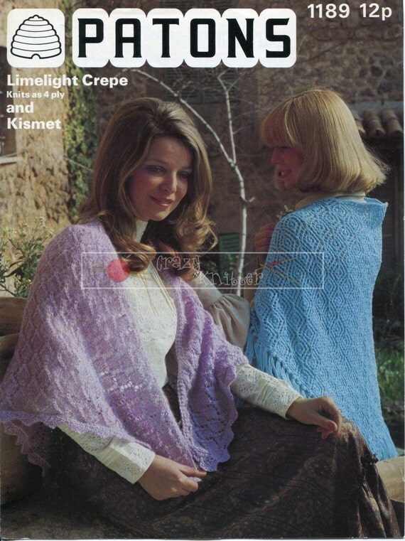 Lady's Lace Shawls 4-ply Patons 1189 Vintage Knitting Pattern PDF instant download