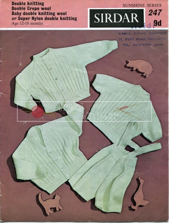 Baby Boy Cardigans Jersey Trousers 12-18 months DK Sirdar Sunshine Series 247 Vintage Knitting Pattern PDF instant download