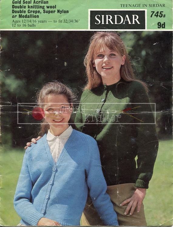 Teenager Cardigans 12-16 Years DK Knitting Pattern PDF instant download