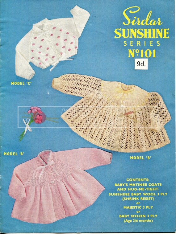 Baby Matinee Coats & Hug Me Tight 3-6 months 3-ply Sirdar Sunshine Series 101 Vintage Knitting Pattern PDF instant download
