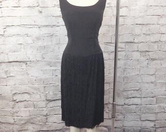 Vintage 1950's FRINGE Wiggle Dress Inky Black Hourglass with Go-Go Fringe Shimmy Size M VLV Rockabilly Mod