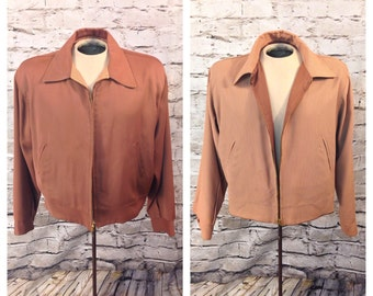 "Vtg 1950's 50s Reversible ""Ricky"" Rayon Gabardine Jacket Size Large"