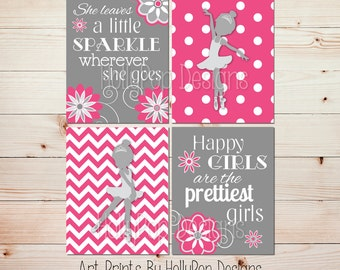 Baby Girl Wall Art Bright Pink Gray Nursery Art She Leaves A Little Sparkle  Happy Girls