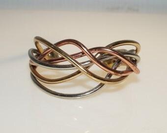 "Copper Brass Nickel Silver Organic Wire Cuff Bracelet 7"""