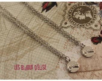 Sale - Pinky PromiseCharms Necklace  Antique Silver Necklace Friendship Charms Necklace