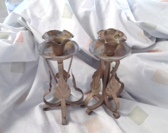 On Sale Shabby Chic Style Set of Two Rustic Gold Metal Standing Candle Holders
