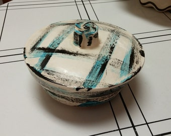 On Sale Mid Century Art Deco Style California Pottery Blue and Black Brush Stroke Serving Bowl with Lid