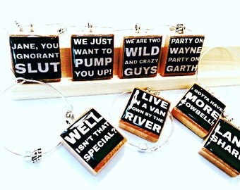 Saturday Night Live SNL Catchphrases Custom Scrabble Tile Wine Charms