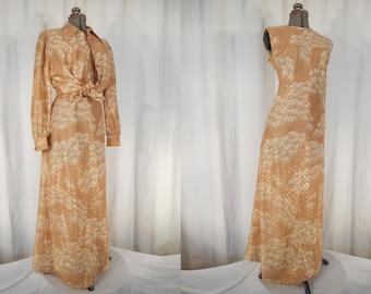 Vintage 1970s Dress / 70s Maxi Dress / Plus Size Dress / Tan Gold Metalic Empire Waist Boho Dress Set