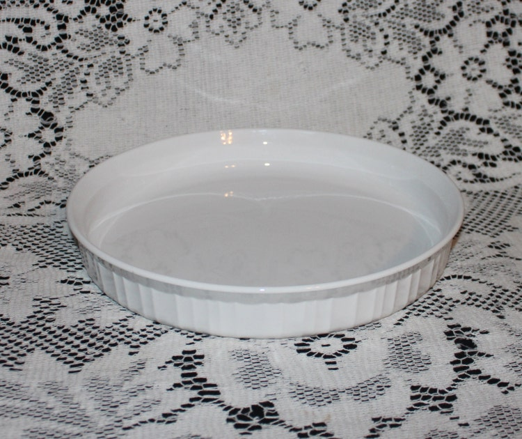 Vintage Corningware French White Quiche Pan Round By