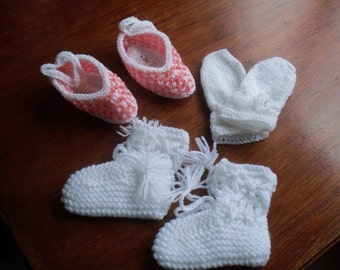 Baby Set - booties, mittens and slippers