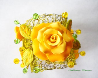 Bracelet and earrings, Bracelet with yellow roses, summer jewelry, polymer clay