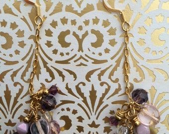 Gold and Purple Cluster Earrings