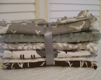 Rag Quilt Style Burp Cloths, Woodland Gray Brown Baby ONE Set of Two Minky Elk Deer Fox Baby Shower Gifts Nursery