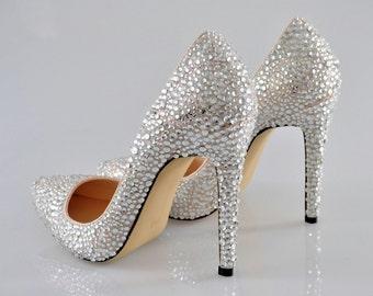 Swarovski Crystal Glitter Silver Nude Custom Bridal High Heel Stiletto Luxury White Leather Pump